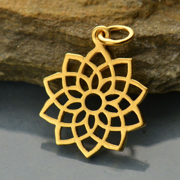 Tribal Jewellery Bracelet charms 24K Gold Plated Throat Chakra Charm Pendant Yoga Jewellery Gold Charm Gold Pendant Charm Necklace
