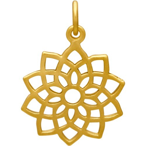 Gold Charm - Crown Chakra with 24K Gold Plate 22x15mm