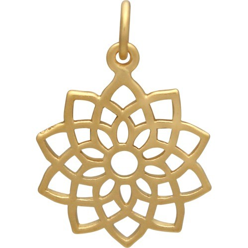 Gold Charm - Crown Chakra with 24K Gold Plate