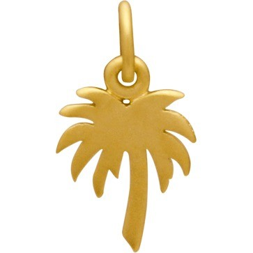 Gold Charm - Flat Palm Tree with 24K Gold Plate 16x9mm
