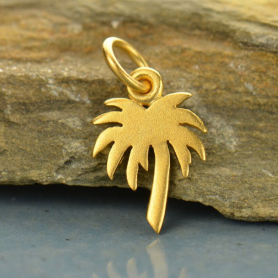 Gold Charm - Flat Palm Tree with 24K Gold Plate