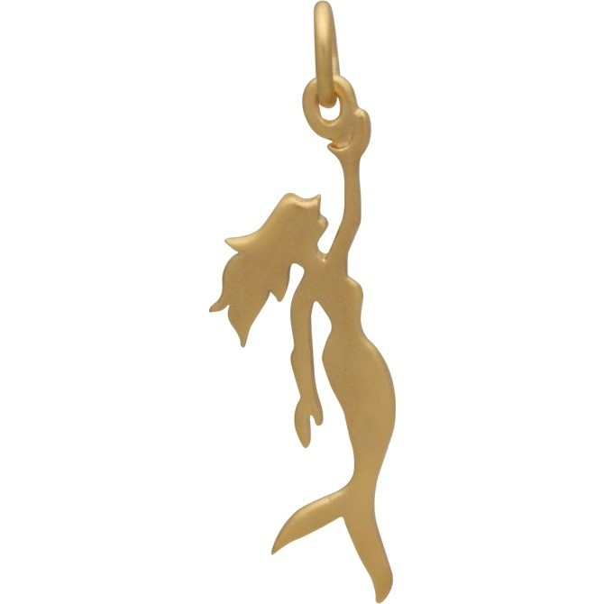 Gold Charm - Flat Mermaid with 24K Gold Plate 29x9mm