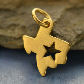 Gold Charm - Texas with Star in 24K Gold Plate DISCONTINUED