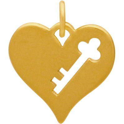 Gold Charm - Heart w Key Cutout in Gold Plate DISCONTINUED