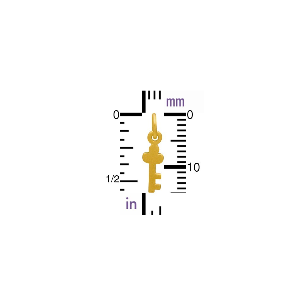 Gold Charm - Tiny Key with 24K Gold Plate DISCONTINUED