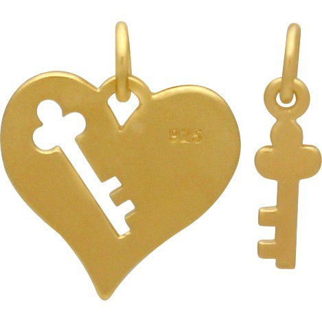 Heart and Key Charm Set with 24K Gold Plate DISCONTINUED