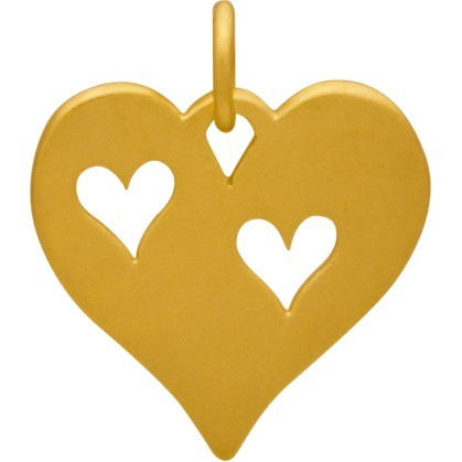 24K Gold Plated Heart Charm with 2 Heart Cutouts 17x15mm