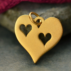 Gold Charm - Heart with 2 Heart Cutouts in 24K Gold Plate