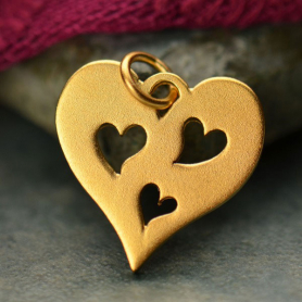 Heart Charm with 3 Heart in 24K Gold Plate DISCONTINUED
