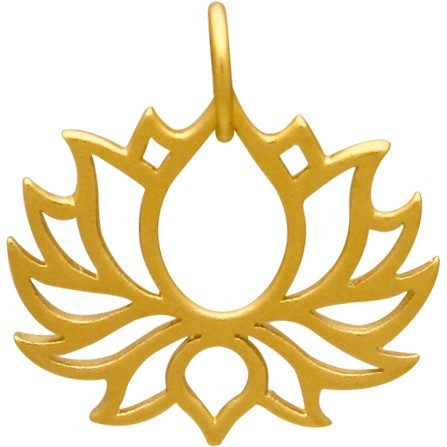 Gold Charm - Blooming Lotus with 24K Gold Plate 18x18mm