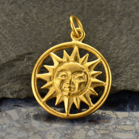 Gold Charm - Sun with 24K Gold Plate 21x15mm
