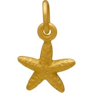 Satin 24K Gold Plated Textured Starfish Charm 14x8mm