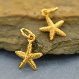 Gold Charm - Tiny Textured Starfish with 24K Gold Plate