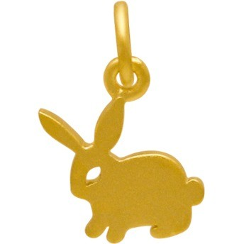 Gold Charm - Bunny with 24K Gold Plate