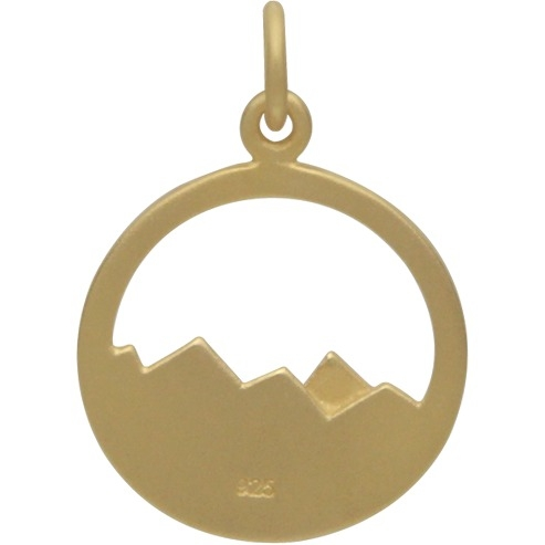 Gold Charms - Openwork Mountains with 24K Gold Plate 22x15mm