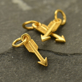 24K Gold Plate Arrow Charm 15x3mm