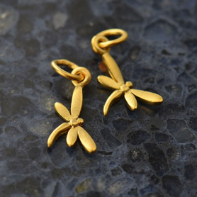 Gold Charm - Tiny Dragonfly with 24K Gold Plate