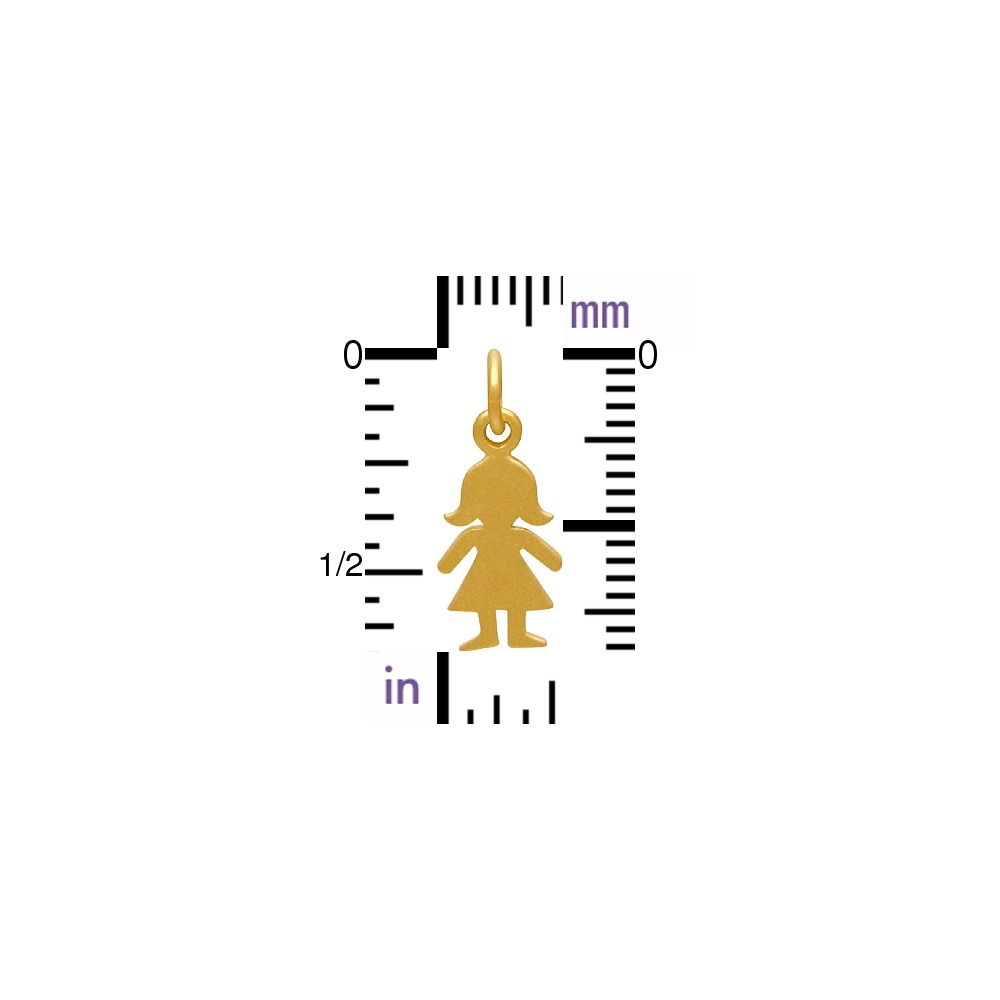 Gold Charms - Girl Cut Out with 24K Gold Plate 18x7mm