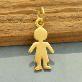 Gold Charms - Boy Cut Out with 24K Gold Plate 18x7mm