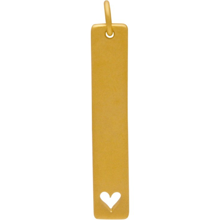 24K Gold Plated Long Stamping Blank Charm with Heart 32x5mm