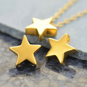 Gold Bead - Small Star with 24K Gold Plate 9x9mm