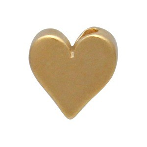 Gold Bead - Small Heart with 24K Gold Plate 7x8mm