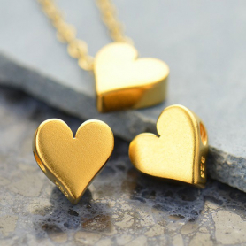 Gold Bead - Small Heart with 24K Gold Plate