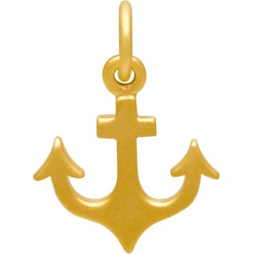 Gold Charm - Flat Anchor with 24K Gold Plate 17x12mm