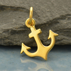 Gold Charm - Flat Anchor with 24K Gold Plate
