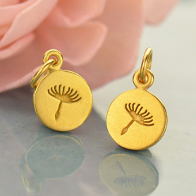 Gold Charm - Small Dandelion in 24K Gold Plate 14x8mm