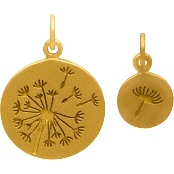 Gold Charms - Dandelion Set with 24K Gold Plate 21x15mm