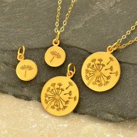 Gold Charms - Dandelion Set with 24K Gold Plate