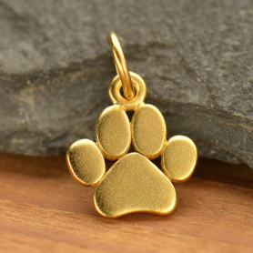 Gold Charm - Flat Paw Print with 24K Gold Plate