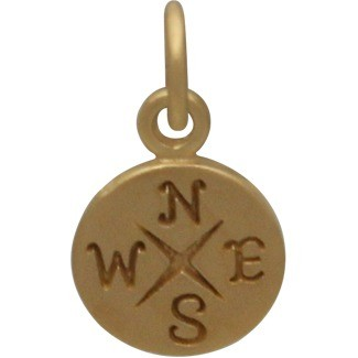 24K Gold Plated Sterling Silver Compass Charm 14x8mm