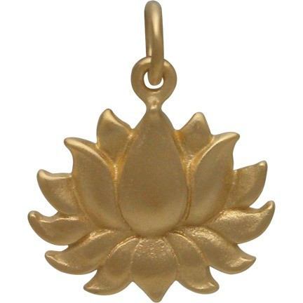 24K Gold Plated Large Textured Blooming Lotus Charm 18x15mm