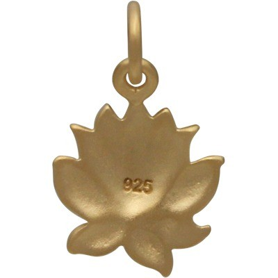 Gold Charm - Med Textured Blooming Lotus with 24K Gold Plate
