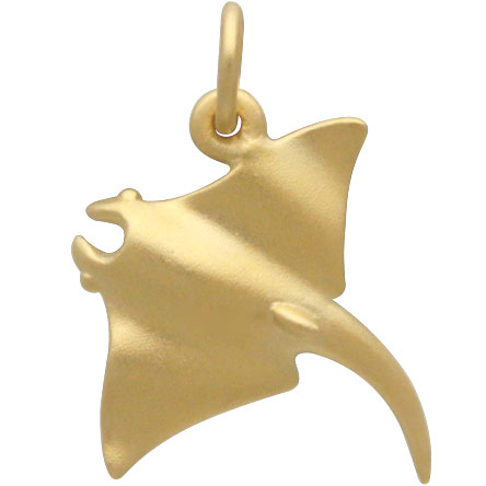 Satin 24K Gold Plated Sting Ray Charm 18x15mm