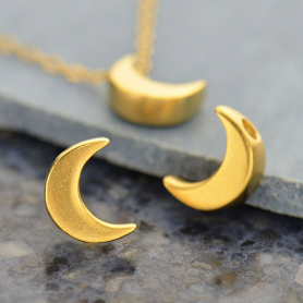 Gold Bead - Small Moon with 24K Gold Plate 9x7mm