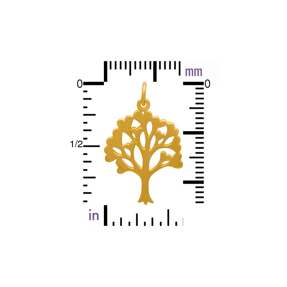 Gold Charms - Family Tree with 24K Gold Plate 26x16mm