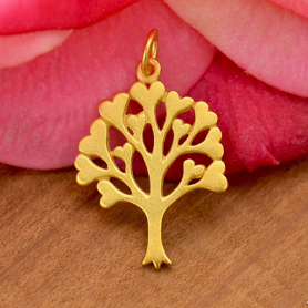 Gold Charms - Family Tree with 24K Gold Plate