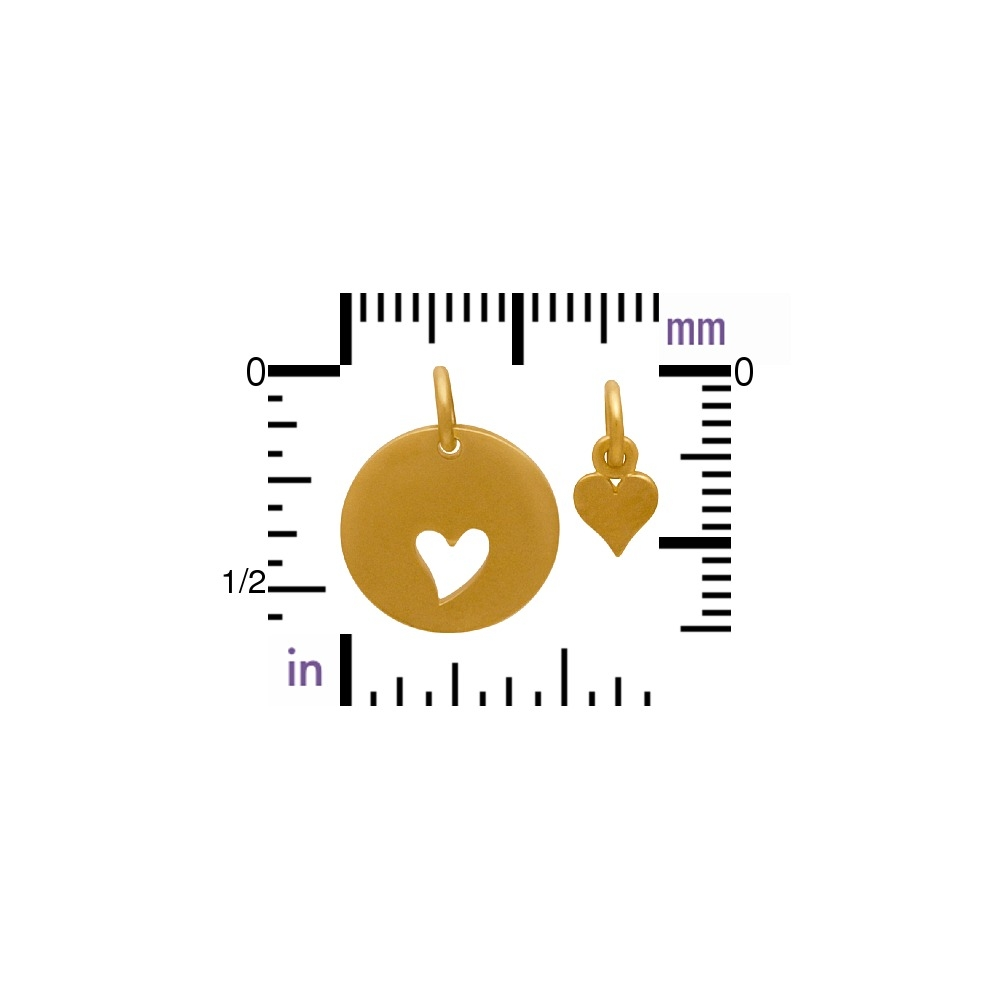 Gold Charms - Round Disk with Heart Cutout and Heart in 24K