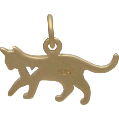 Gold Charms - Cat with 24K Gold Plate 13x17mm