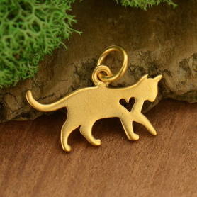 Gold Charms - Cat with 24K Gold Plate