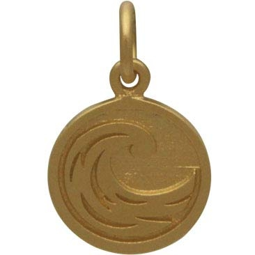 Gold Charm - Water Element in 24K Gold Plate 16x10mm