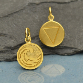 Gold Charm - Water Element in 24K Gold Plate