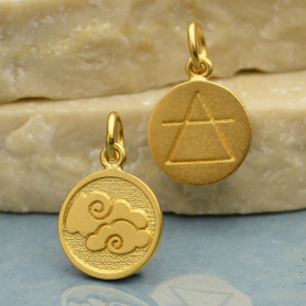Gold Charm - Air Element in 24K Gold Plate 16x10mm