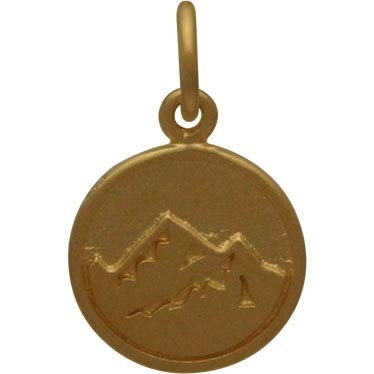 Gold Charm - Earth Element in 24K Gold Plate