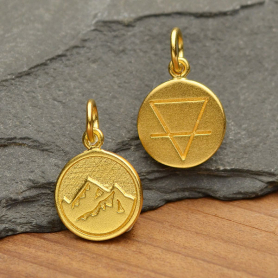 Gold Charm - Earth Element in 24K Gold Plate 16x10mm