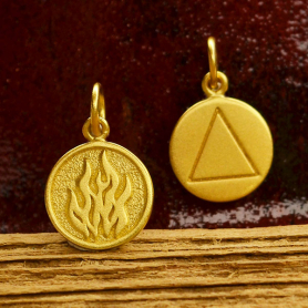 Gold Charm - Fire Element in 24K Gold Plate