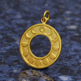 Gold Pendant - Moon Phases Circle in 24K Gold Plate
